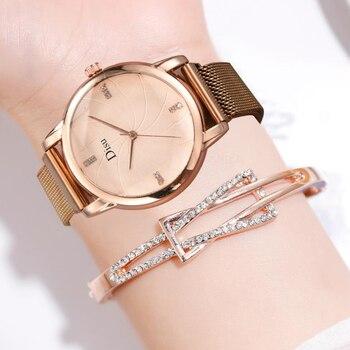цена Milan Strap Luxury Rhinestone Women's Watches Ore Glass Dial Buckle Alloy Wrist Watch Ladies Quartz Watch Clock Montre femme онлайн в 2017 году