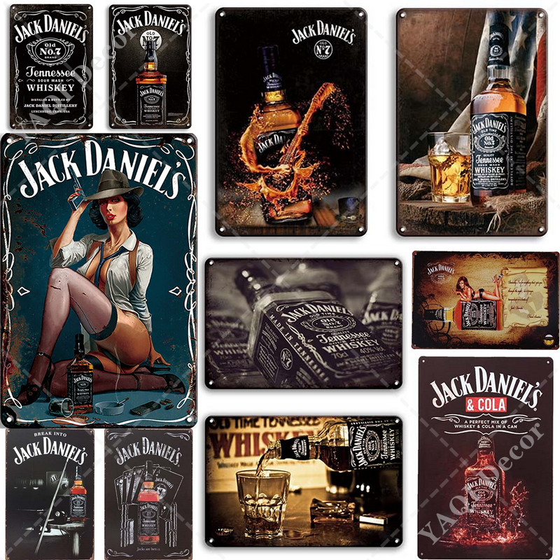 Whiskey Plaque Wine Vintage Metal Tin Signs Decorate Plates for Cafe Bar Home Pub Man Cave Tennessee Whiskey Wall Art Poster