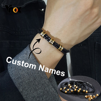 Vnox Free Customize Family Names Men's Beads Bracelets Layered Braided Leather Chain Matte Stainless Steel Charms Mom Dad Sister faux gem flowers layered bracelets
