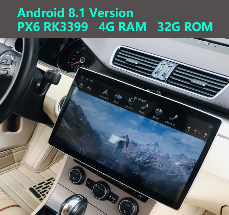 12.8 Rotation IPS screen double din car universal gps radio player Tesla Style android 9.0 PX6 6core 4+32G wifi usb bluetooth image