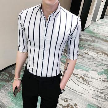 2020 Summer Men Striped Shirt Half Sleeve Fashion Business Formal Wear Social Shirts Men Slim Fit Casual Blouse Mens Clothing