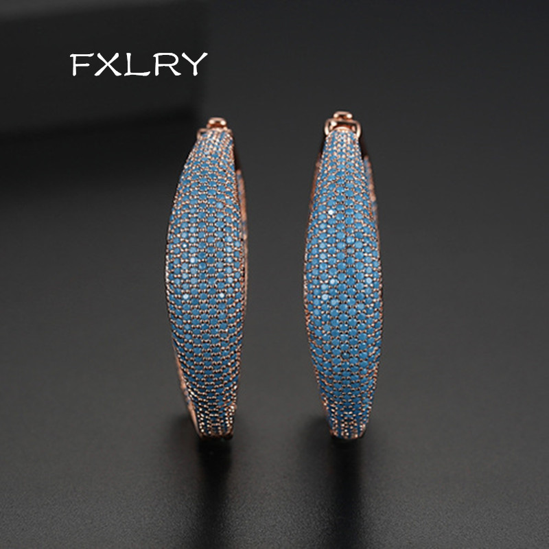 FXLRY new Retro pop Europe and the United States rose gold micro inlaid zircon exaggerated Blue zircon earrings Bridal Wedding J