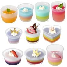 50 шт., высокое качество, креативные одноразовые вечерние чашки для выпечки, Прозрачный Пудинг, желе, декор cupsmall, толстые пластиковые чашки