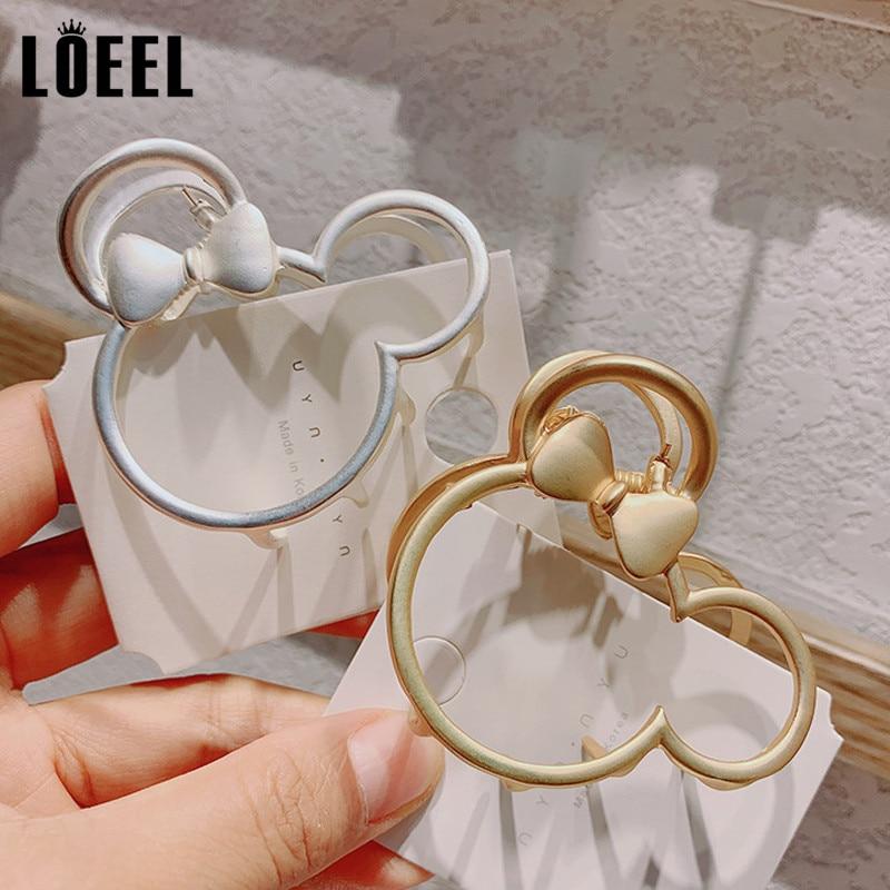 New Fashion Alloy Headwear Gold/Silver Cartoon Mouse Hair Claws Hollow Matte Geometric Hairpins Hair Accessories For Women Girls