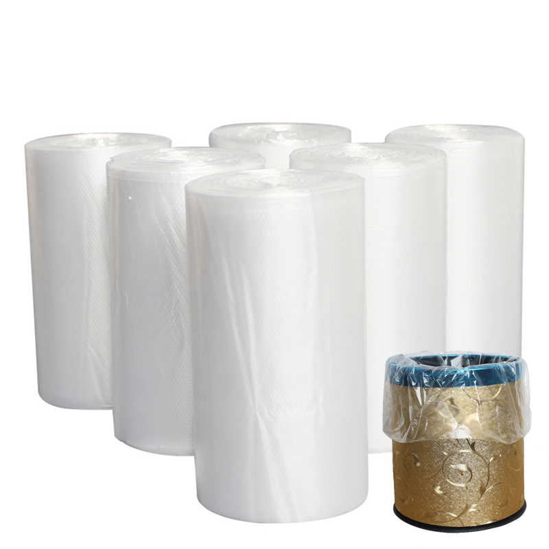 50 Pcs/Roll White Trash Bags Household Kitchen Disposable Plastic Bags Hotel Transparent Garbage Trash Bags Cleaning Supplies