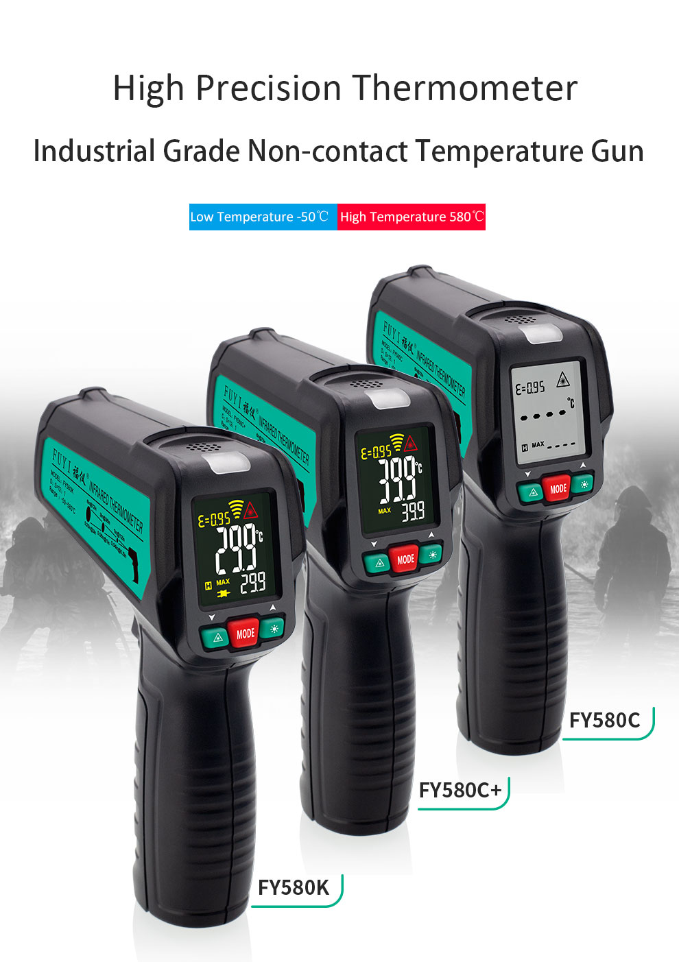 High Precision Non Contact Thermometer with K Probe and LCD Display to Check Body Temperature 7