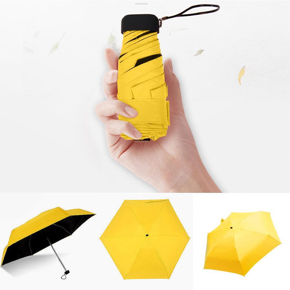 Мини-зонт, женский зонт, 5 раз, плоский светильник, Сумка с карманом и ультра-светильник, зонт, складной солнцезащитный зонтик, зонты Y1 - Цвет: Yellow