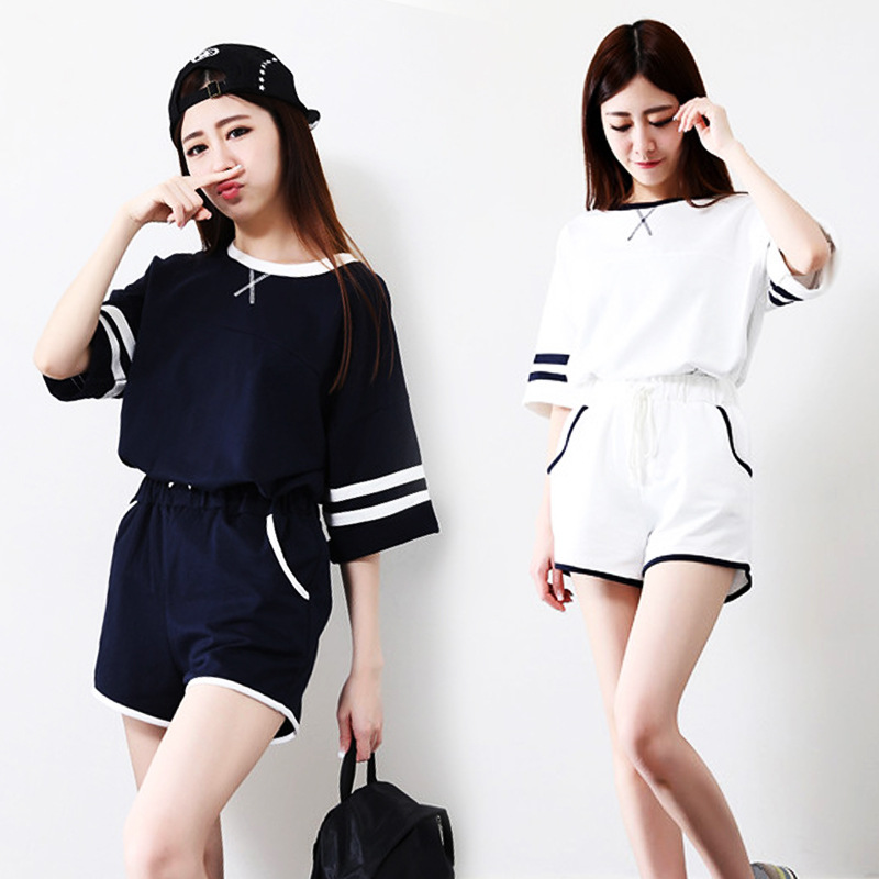 [Jun Xin] Summer Pajamas Women's Scale Black And White Two-color Crew Neck X Short Sleeve Shorts Fork Collar Tracksuit M ~ XXL