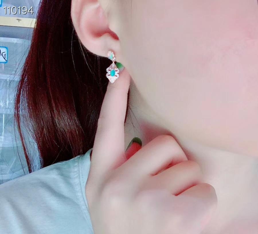 KJJEAXCMY boutique bijoux 925 en argent sterling incrusté opale naturelle femelle boucles d'oreilles détection de soutien - 2