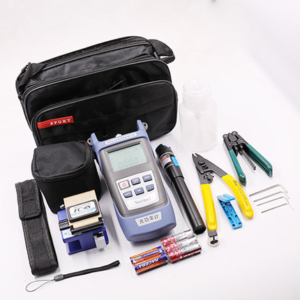 6 In 1 Fiber Optic FTTH Tool Kit Optical Fiber Fiber Cleaver FC-6S Miller's Plier Stripper Optical Power Meter 1mw VFL 5KM Kit