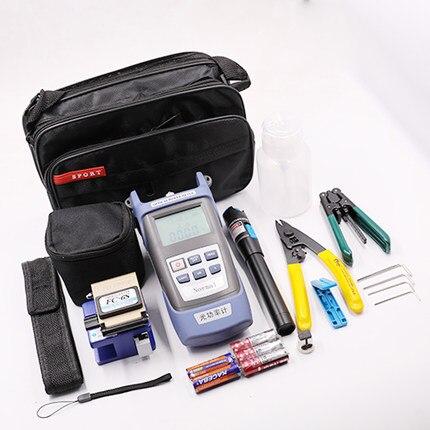 Kit de herramientas de fibra óptica 6 en 1 FTTH, pinzas ópticas, pinzas de FC-6S, pelacables de Miller, medidor de potencia óptica VFL 5KM