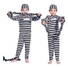 Halloween cosplay traje roupas menino criança listrado prisioneiro traje mascarado traje