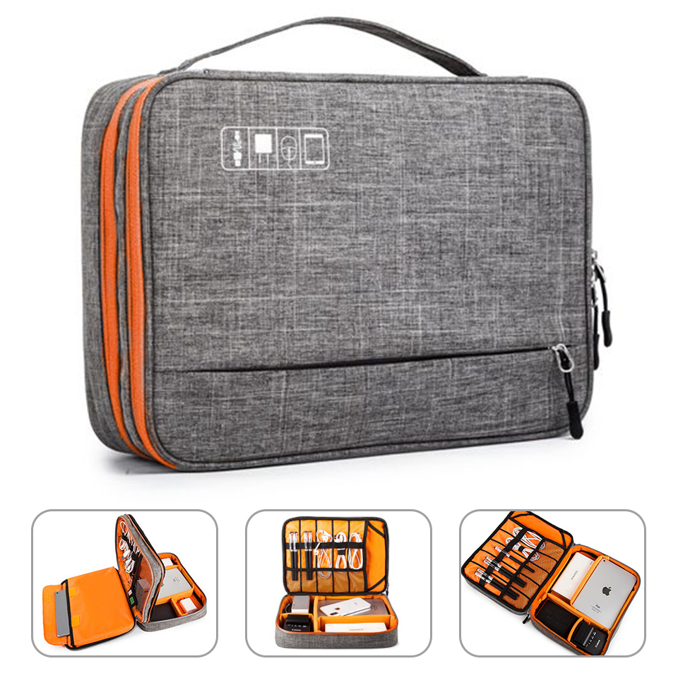 Double Layer Electronic Accessories Storage Bag Separate Room&Detach Strips Portable Organizer Case For IPad,Hard Drives,Cables,