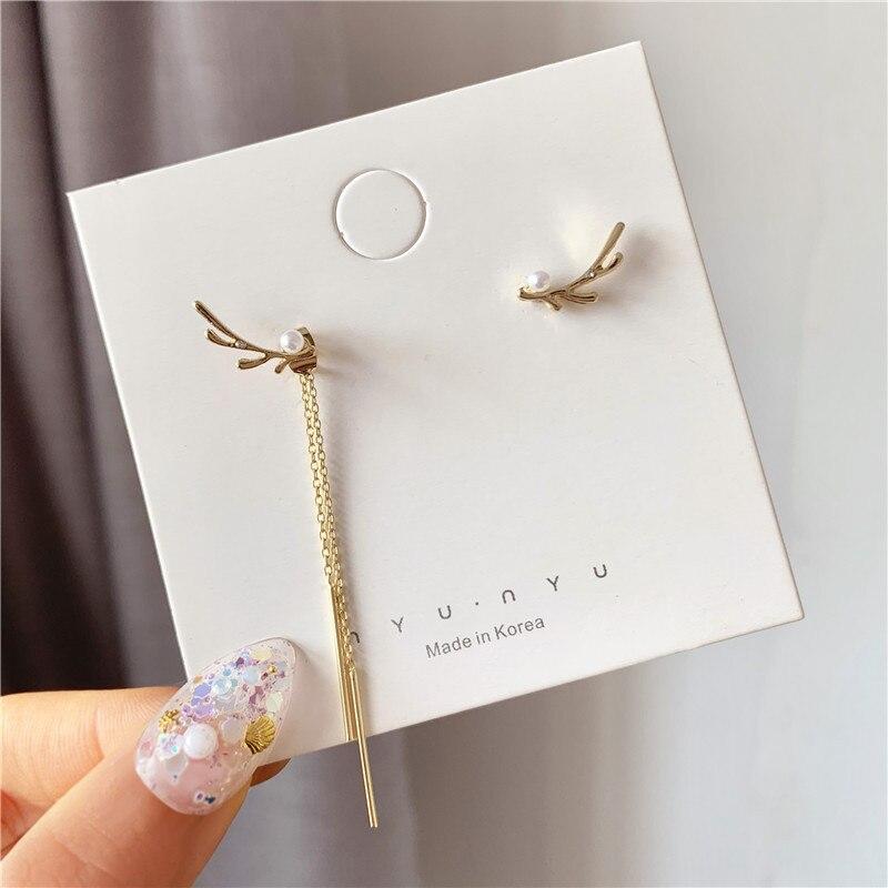 Korean Earrings Fashion Jewelry Small Antlers Long Asymmetric Tassel Earrings Oorbellen Tassel Earrings For Women Wholesale