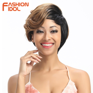 FASHION IDOL Short Wavy Synthetic Hair Wigs Ombre 10 Inch Bob Wigs For Black Women Heat Resistant Synthetic Wigs Free Shipping(China)