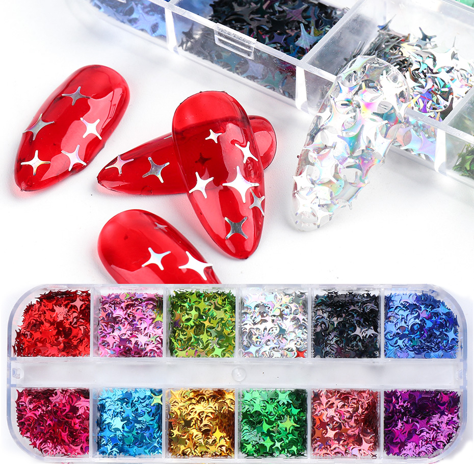 Laser Star Glitter Nails Spangles Silver Black Nail Paillette Mixed Colorful Flakes Manicure UV Gel Nail Decor (2)