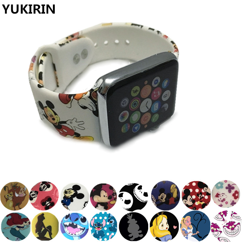 YUKIRIN Cartoon Mouse Stitch Alice Cheshire Cat Silicone Sport Band For Apple Watch Series 5 4 3 2 1 Wrist Strap For IWatch