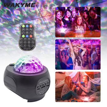 WAKYME Night Light LED Projector Star Moon Sky Rotating Night Lamp Colorful Flashing Nightlight Lamp Remote Control Music Player цена 2017