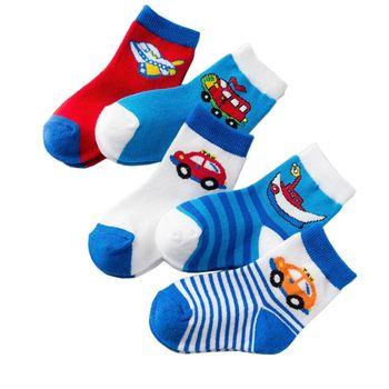 5 Pairs Baby Socks Warm and Comfortable Kids Socks Colourful stripe Cartoon Boys Girls Cotton Socks