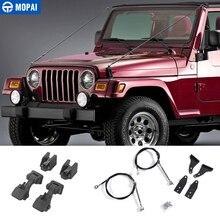 MOPAI Schutz Rahmen für Jeep Wrangler TJ 1997 2006 Hood Latch Hindernis Beseitigen Seil Gliedmaßen Riser Kit für Jeep zubehör