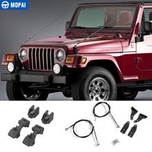 MOPAI marcos de protección para Jeep Wrangler TJ, pestillo de capó, juego de elevador de extremidades de cuerda para eliminar obstáculos, accesorios para Jeep