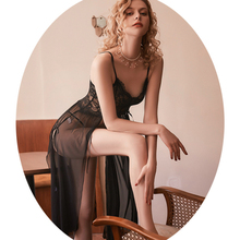 Miss Zia Pijamas Women Sexy Summer Long Nighty Set Nightgowns For Women Sexy Intimates Lingerie Femme Hot Underwear amp Sleepwears cheap Polyester CN(Origin) Mid-Calf V-Neck Sleeveless Thin Solid Lace Nighty Set DY20019 Nightgowns with thong Lace nightgown mesh