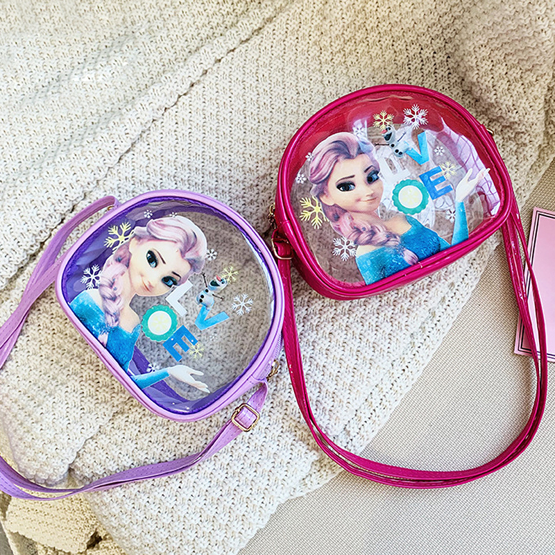 New Cute Elsa Princess Coin Purse Women Small Transparent Handbag Cartoon Snow Queen Children Messenger Bag Girls Shoulder Bag
