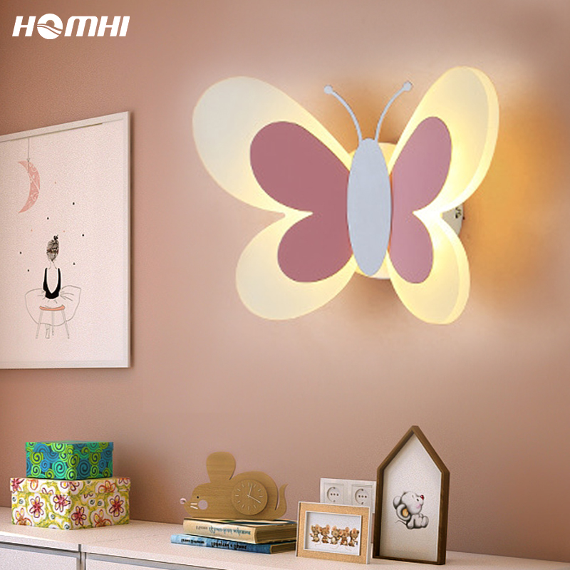 Butterfly wall sconce Night lights for kids Deco Maison Lampki Led Dekoracje Bedroom Sconces wall lighting For girls Pink fairy
