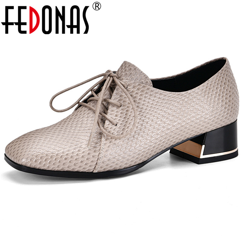 FEDONAS Concise Retro Pumps Women Spring Autumn Casual Office Shoes Woman Genuine Leather Square Toe Shallow Plus Size Pumps