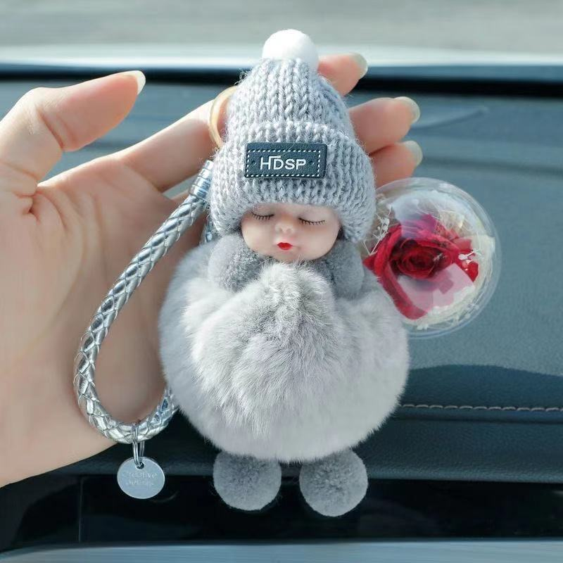 Car Keyring Cute Fluffy Sleeping Doll Keychain Pompom Rabbit Fur Freserved Rose Flower Ball Key Chain Women Bag Charms Pendant