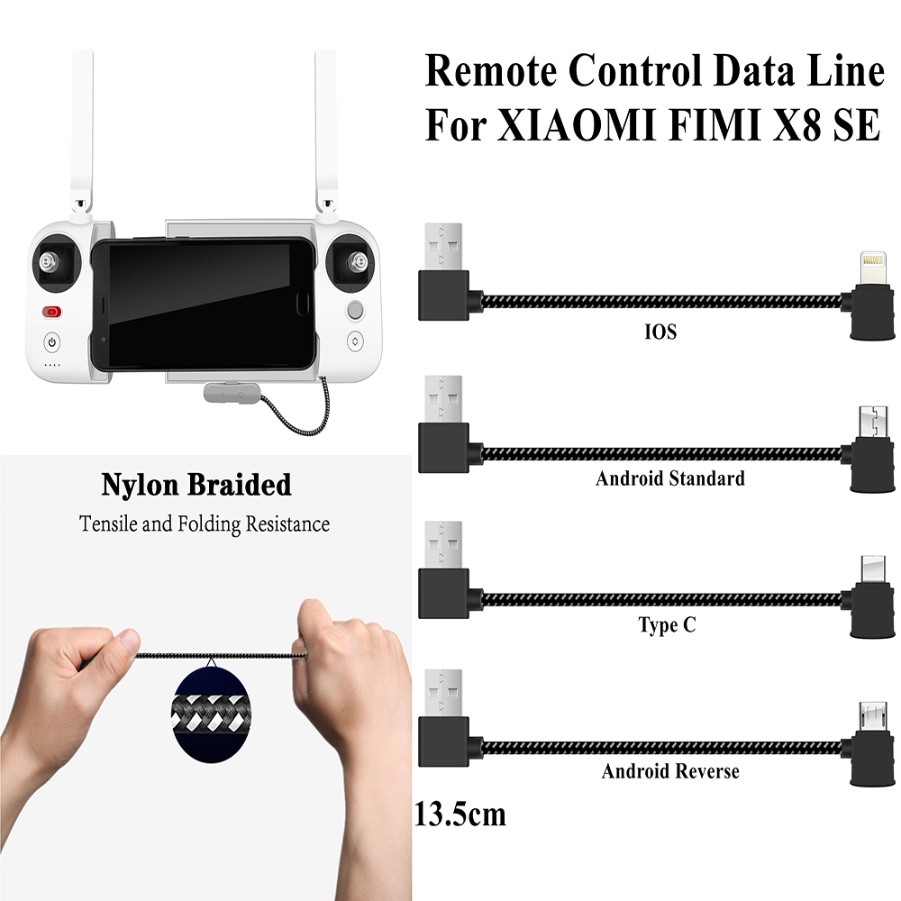 For FIMI X8 SE Remote Controller USB Data Cable For Connecting Mobile Phone To The Transmiter Lighting Type C Android Smartphone