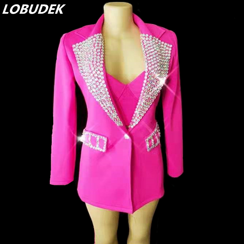 (Бюстгальтер + шорты + пальто) Детский комплект одежды из 3 предметов: комплект Для женщин певец бар для концертных площадок костюм розового,