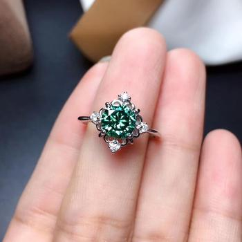 big size 2 carat flashing green moissanite gem ring for women 925 sterling silver shiny better than diamond engagement ring gift