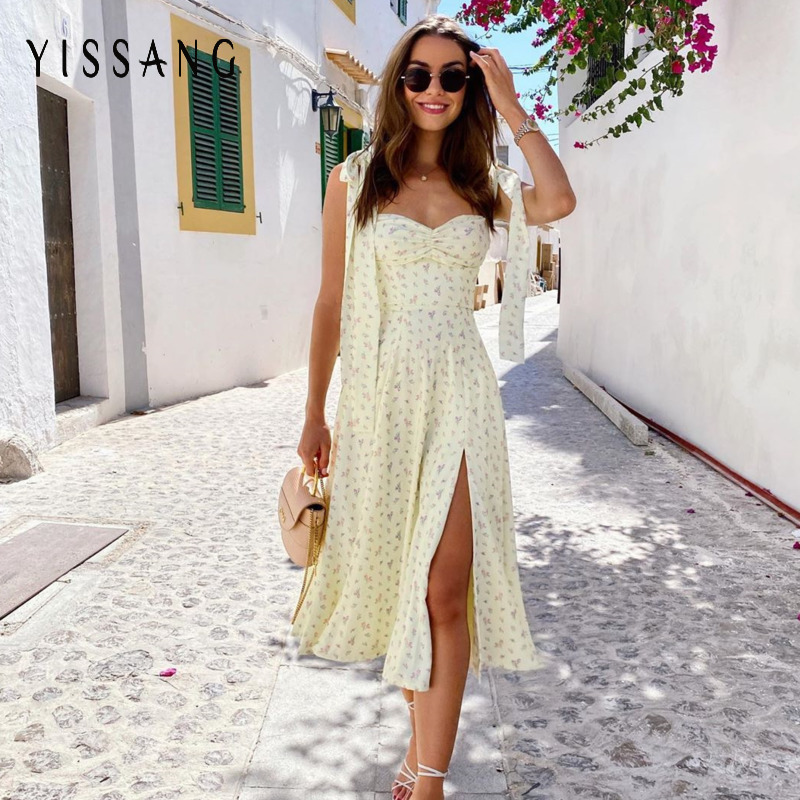 Yissang Floral Print Puff Short Sleeve Women Dress High Split Party Long Dresses Elegant Lace Up Sweet Summer Club Sexy Dress 9