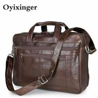 Men's Briefcase Genuine Leather Handbags Bag For Documents Men Business Portfolio Male Excellent Cow Leather Travel Laptop Bags