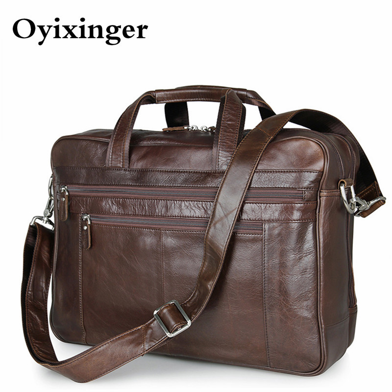 Men's Briefcase Genuine Leather Handbags Bag For Documents Men Business Portfolio Male Excellent Cow Leather Travel Laptop Bags