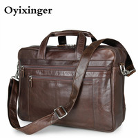 Men's Briefcase Genuine Leather Handbags Bag For Documents Men Business Portfolio Male Excellent Cow Leather Travel Laptop Bags|Briefcases|Luggage & Bags -
