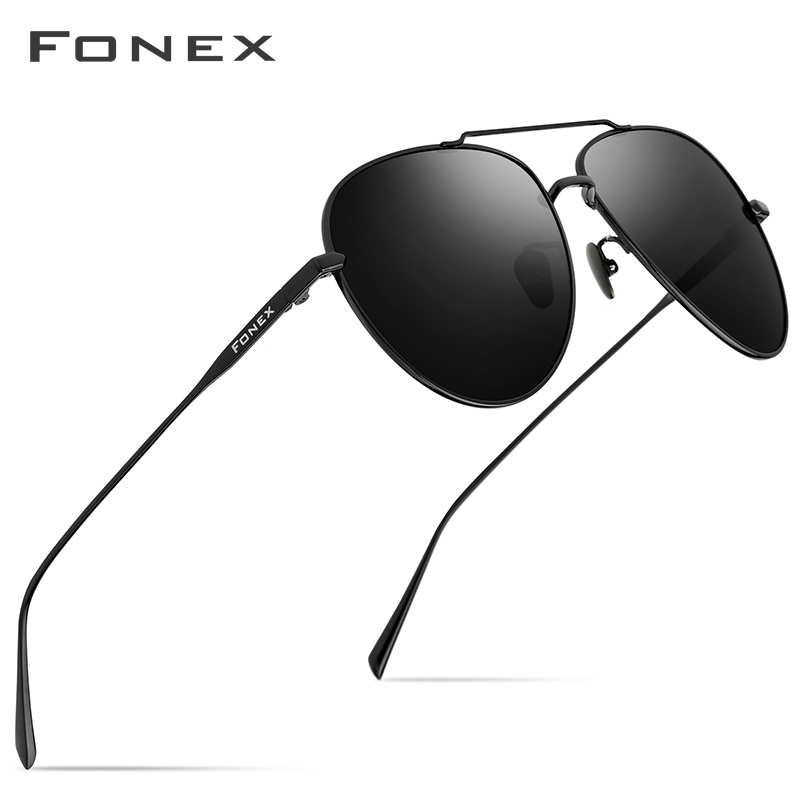 FONEX lunettes de soleil titane pur hommes Aviation lunettes de soleil polarisées pour hommes 2019 nouvelle conduite en plein air Aviador UV400 nuances 8507
