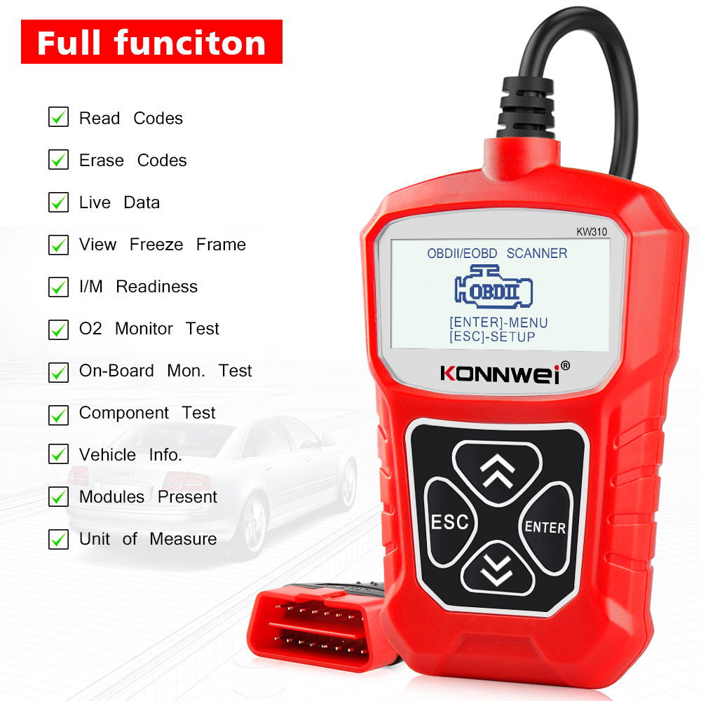 KONNWEI KW310 OBD ODB2 Scanner Universal Auto Diagnostic Tool Professional Automotive Check Engine Code Reader for Car ELM327