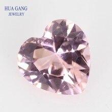 Morgan nano rosa pedra coração forma pedras preciosas sintéticas para jóias 5x5 10 10x10mm frete grátis