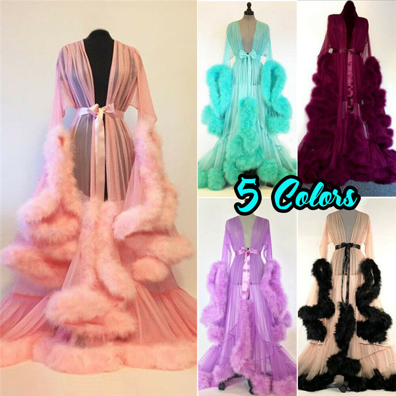 Sexy Night Robe Women Long Maxi Dress Gown Mesh Long Sleeve Fur Babydoll Party Sleepwear Nightgrown Robes