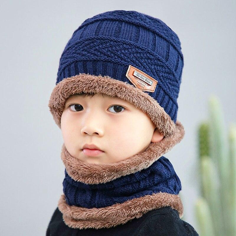 Новая модная Высококачественная зимняя детская вязаная шапка, шарф, комплект из 2 предметов, Детские утепленные бархатные шапочки, теплая шапка для мальчиков и девочек - Цвет: Navy