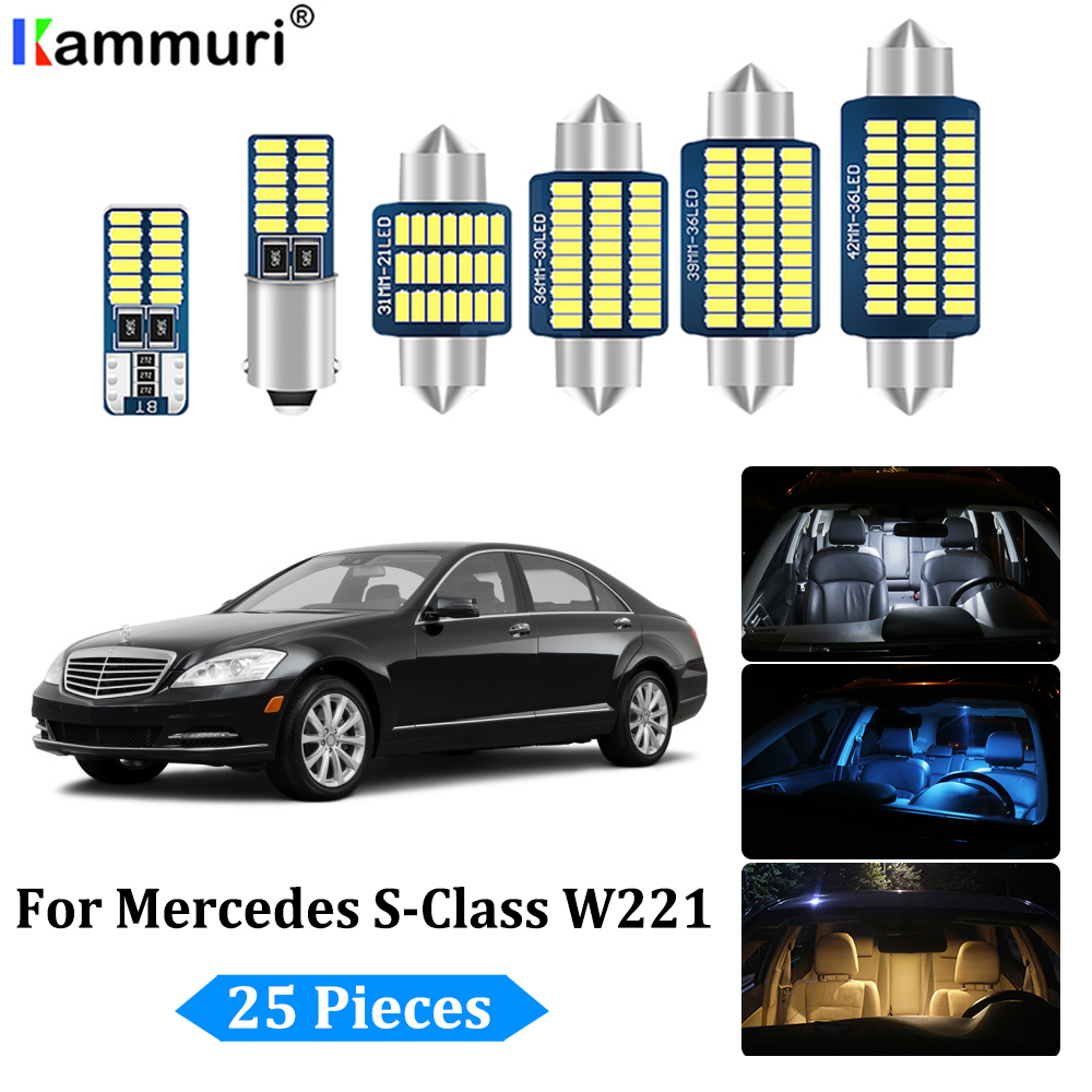 25Pcs LED Bulb Interior + License plate <font><b>Lights</b></font> Kit for Mercedes S class <font><b>W221</b></font> S250 S280 S300 S320 S350 S400 S420 S450 (2006-2013) image