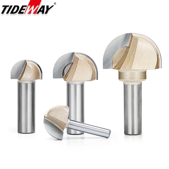 Tideway Woodworking Round Cove Bit Tungsten Carbide Professional Grade Router Bits for Wood 1/2 1/4 Inch Shank Milling Cutter