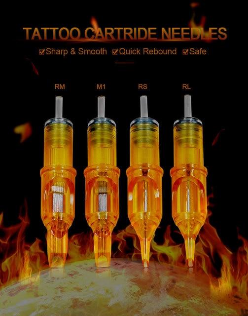 10PCS Tattoo Cartridges Needle RL RS M1 RM tattoo needles For Permanent Makeup Eyebrow Tattoo Machine agujas cartrige  Yellow 5