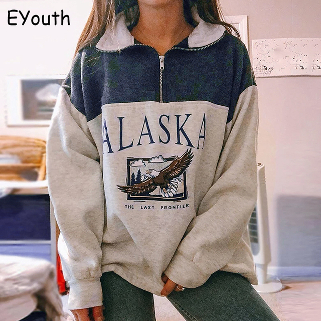 Fashion women's cotton Stand collar half zipper letter printing long sleeve sweatshirts Vintage Grey casual loose sweatshirt 2