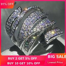 цена на choucong Handmade Big cross Ring 5A Zircon Cz 925 Sterling Silver Engagement Wedding Band Rings for women men Finger Jewelry