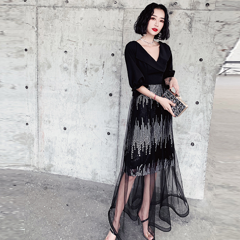 Large Size 3XL Formal Party Mesh Gown Persepective Qipao Sexy Chinese Prom Dress Noble V-neck Cheongsam Long Slim Robe De Soiree