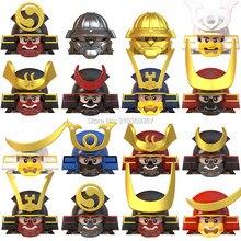 Único vender japonês samurai ninja ronin guerreiro anime mini figuras de ação acessórios capacete armadura bloco construção brinquedos para crianças
