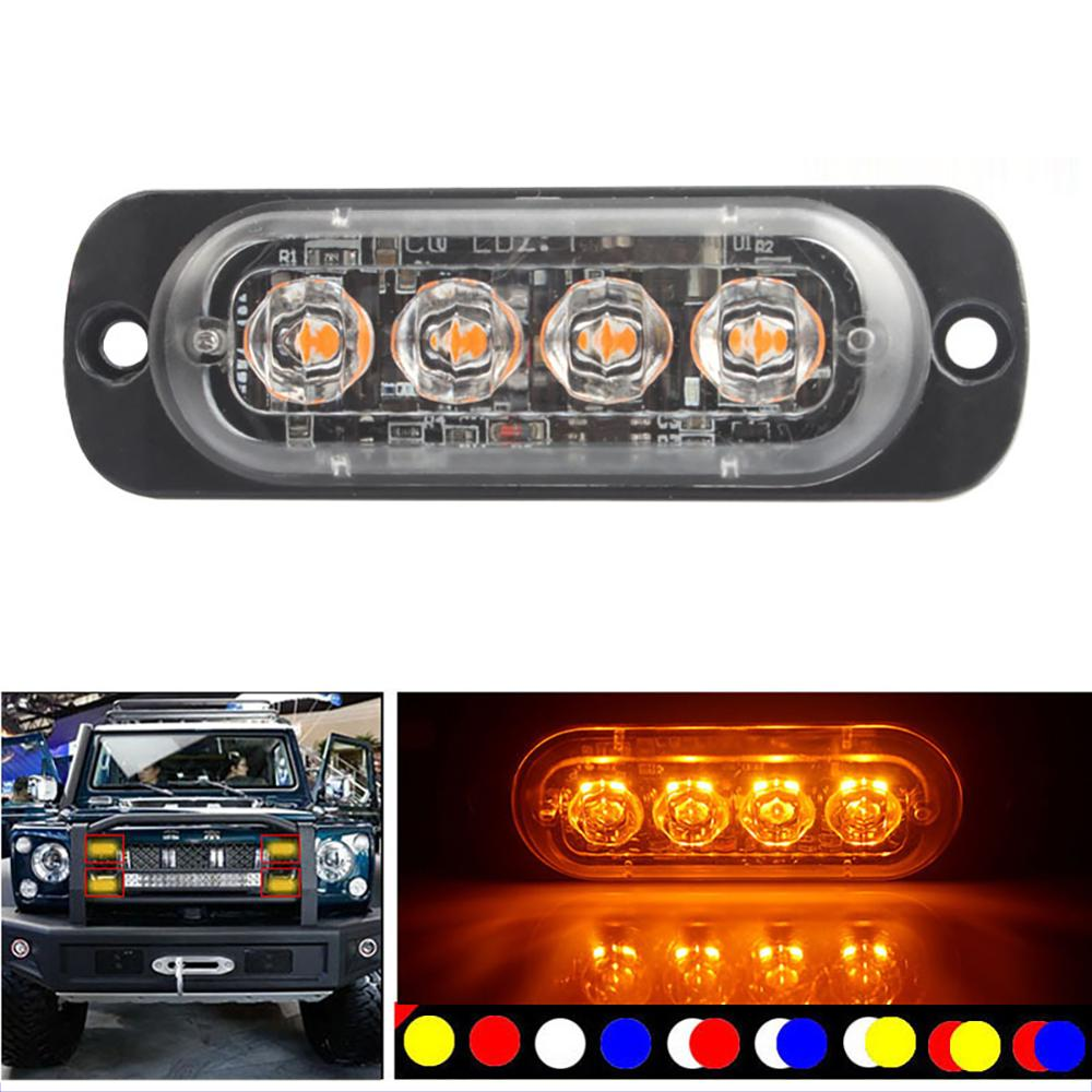 Car LED Strobe Light Emergency Light Grill Breakdown Auto Flashing For SUV Truck Motorcycle Ultra Thin 4 Chips